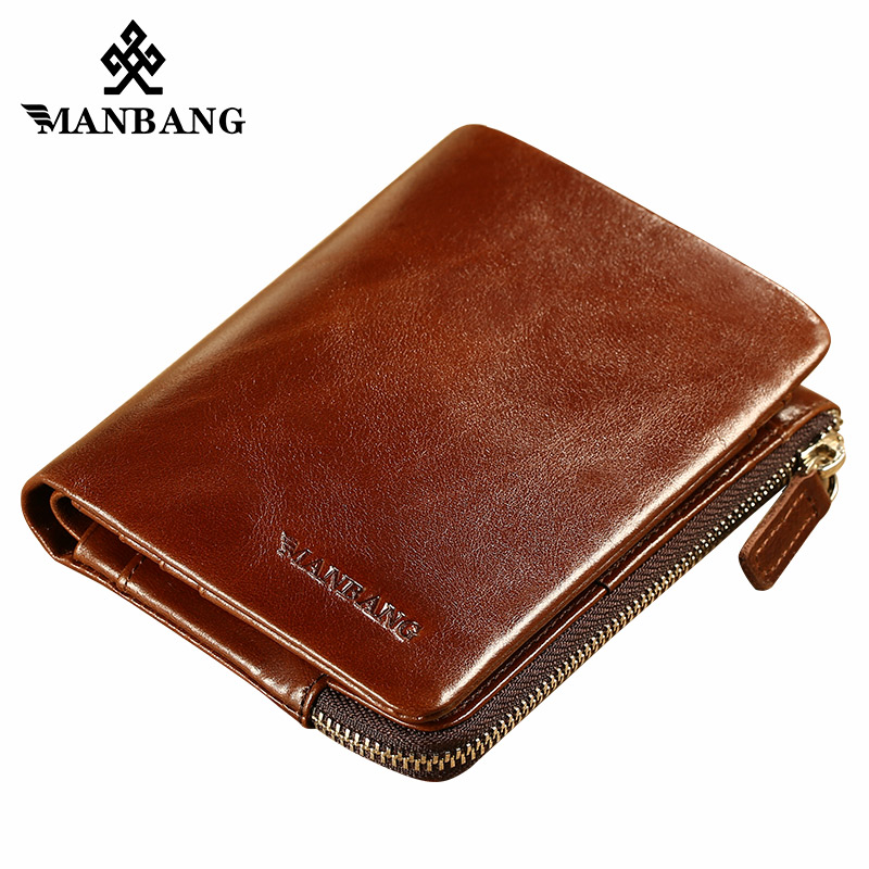 ManBang Genuine Leather Men Wallet Small Men Walet Zipper&Hasp Male Portomonee Short Coin Purse Brand Perse Carteira For Rfid kavis genuine leather long wallet men coin purse male clutch walet portomonee rfid portfolio fashion money bag handy and perse