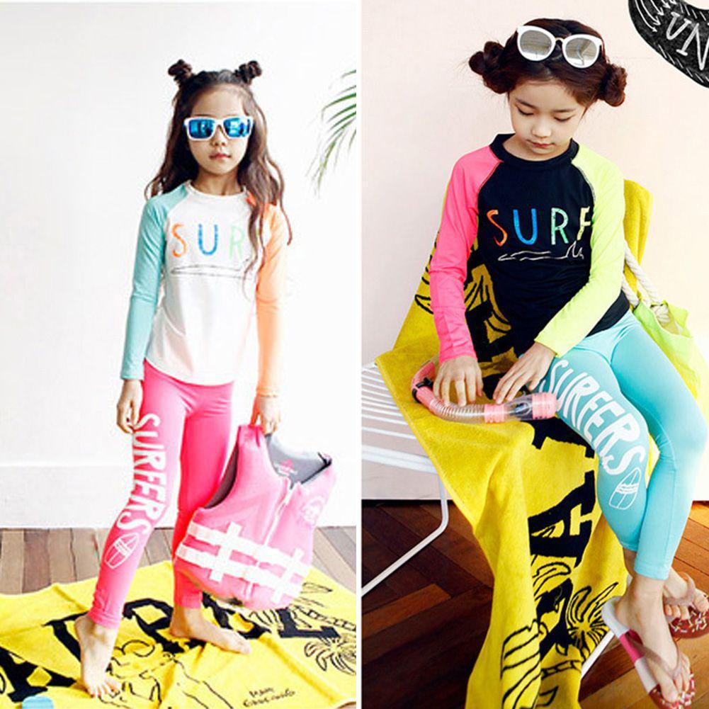 2pcs/set Unisex Quick-drying Sunscreen Split Type Long Sleeve Swimwear Letters Print Muslim Style Swimsuit For Boy Girl Children