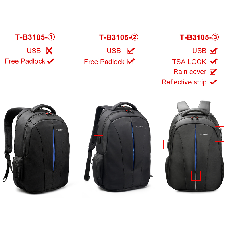 Image 2 - Tigernu Splashproof 15.6inch Laptop Backpack NO Key TSA Anti Theft Men Backpack Travel Teenage Backpack bag male bagpack mochila-in Backpacks from Luggage & Bags