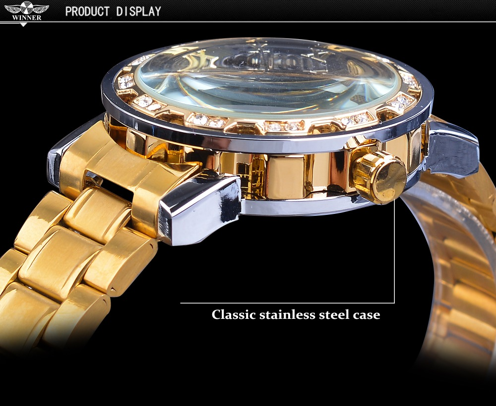 HTB11qqgaA9E3KVjSZFGq6A19XXa3 Winner Golden Watches Classic Rhinestone Clock Roman Analog Male Skeleton Clocks Automatic Mechanical Stainless Steel Band Watch