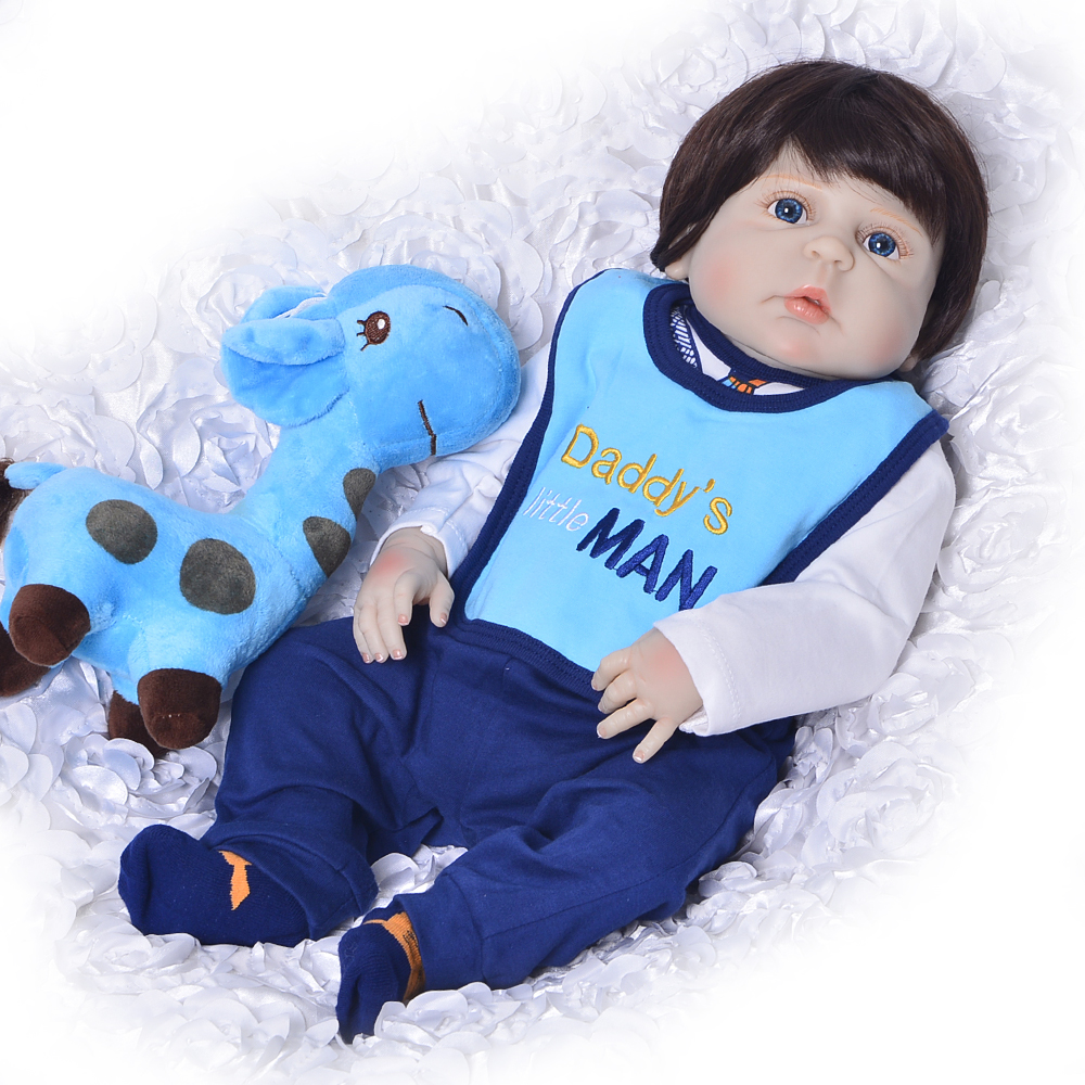 Fashion 23'' Reborn Boneca Full Silicone Vinyl Realistic Babies Doll Brinquedos For Boy Christmas Gifts Lifelike Reborn Dolls christmas gifts in europe and america early education full body silicone doll reborn babies brinquedo lifelike rb16 11h10