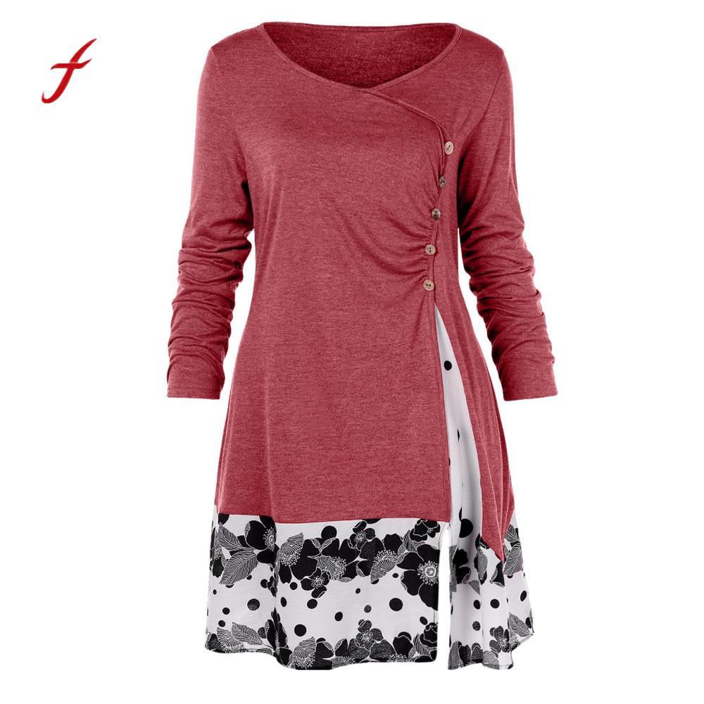 Plus Größe L-5xl Frauen Tops Frühling Herbst Mode Taste Drapierte Floral Spleißen T Shirt Damen Lose Lange Tunika Tops /pt Verschiedene Stile Damentaschen