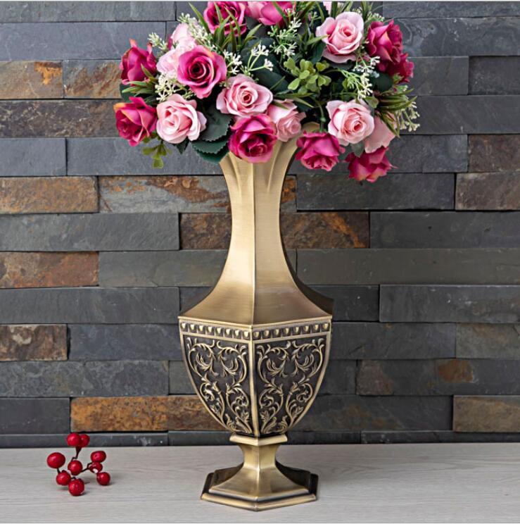 Европейские металлические роскошные цветы h34см, вазы для гостиной, декоративные вечерние вазы для дома, ваза для декора