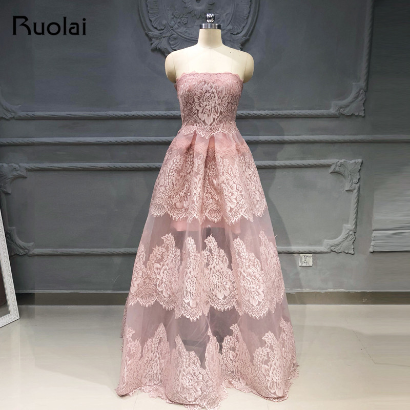Fashion Mauve Evening Dresses Long Strapless A-Line Lace Evening Gown Tulle Floor Length Prom Dress 2019 Robe De Soiree SN43