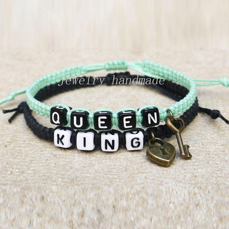 Aliexpress.com Comprar El bloqueo de teclas parejas pulsera su el suyo King Queen regalo de la amistad regalo del aniversario de titular de pulsera fiable