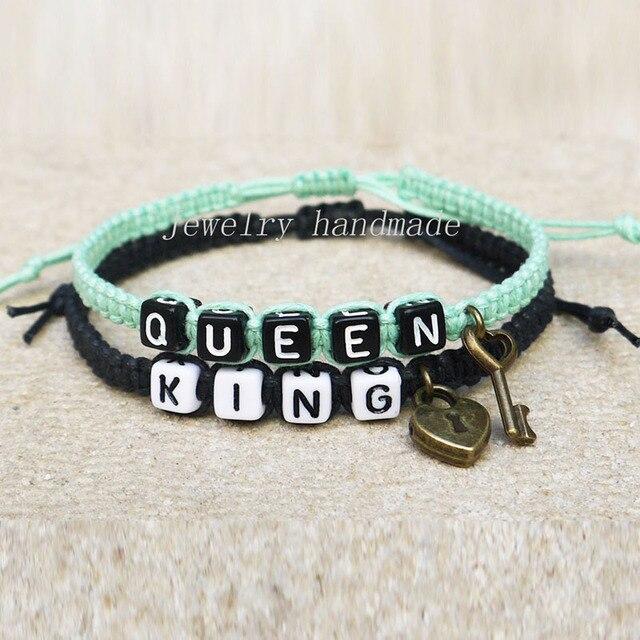 dbb1376da43a El bloqueo de teclas parejas pulsera su el suyo King Queen regalo de la  amistad regalo
