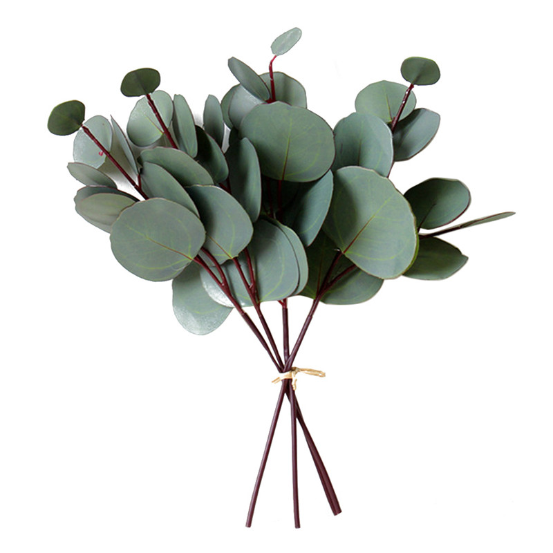 4/8/10pcsArtificial Eucalyptus Leaf PVC Floral Stem Faux Greenery Eucalyptus Leaf For Wedding Decoration Party Home Craft  Plant