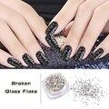 Nuevo 5 g/caja de Plata Irregular Broken Glass Flake Nail Art Glitters Polvo Creativo 3d UV Gel Esmalte de Uñas Herramientas de Decoración