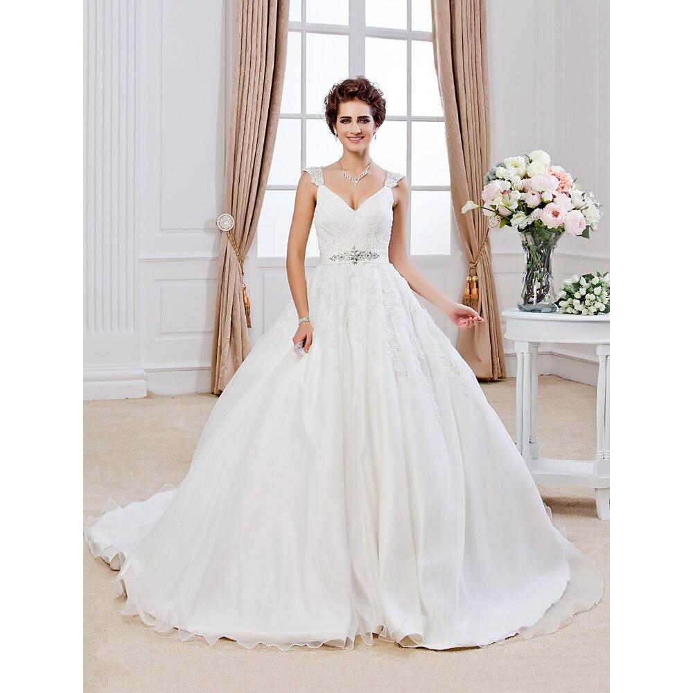 V Neck Wedding Gown: LAN TING BRIDE Ball Gown Wedding Dress V Neck Chapel Train