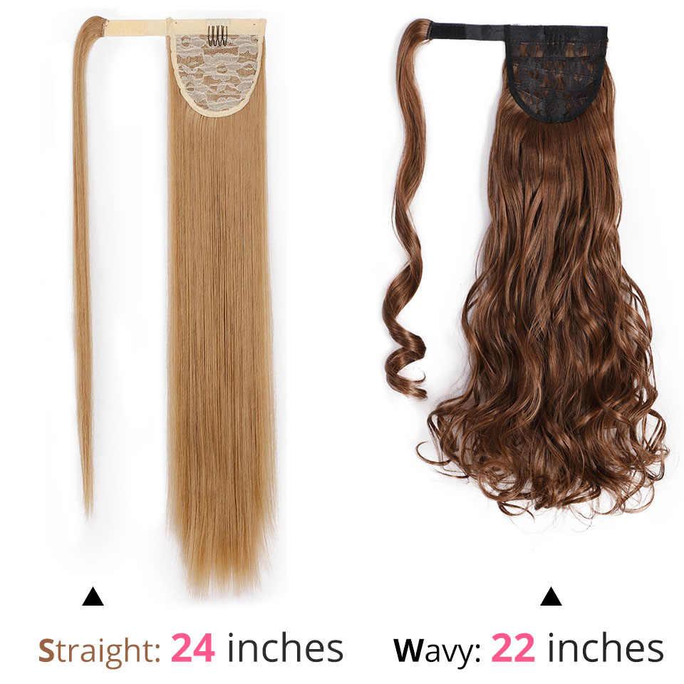 Pinza de cola de caballo recta sedosa larga de 22 ''24'' en cola de Pony sintética extensión de pelo abrigo redondo para mujer AISI belleza