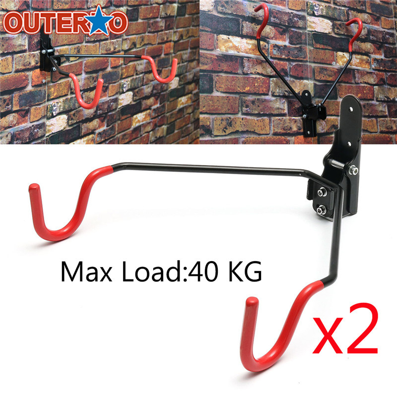 New Arrival 2 Set Adjusted Hook Maximum Load 40kg Steel Wall Mounted Bike Rack+Fixed Plate+Screw fit MTB Bicycle Folding Bike hook nail wall paintings trace hook two decorative painting plate