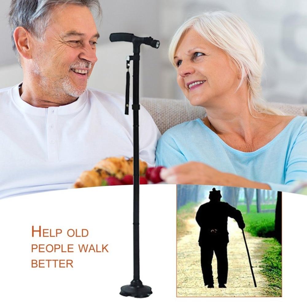 LED Light old man Safety Walking Stick T handle Trekking Hiking Poles Cane Folding Stable Base For elders Stability