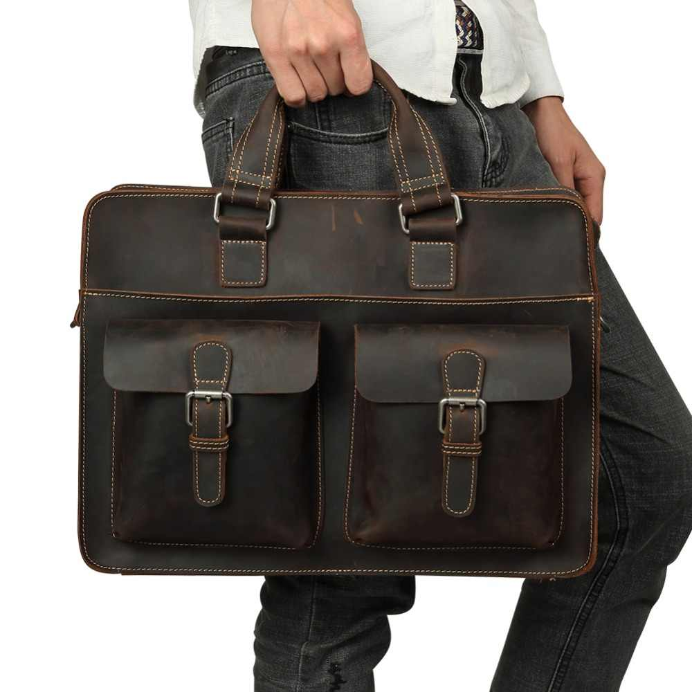 JOYIR 2018 Vintage Men s Cow Genuine Leather Briefcase Crazy Horse Leather Messenger  Bag Male Laptop Bag 3653609278049