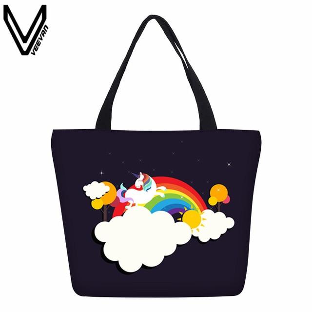 Veevanv New Women Handbags Fashion Cute Rainbow Prints Shoulder Bag S School Bookbag Ping Tote