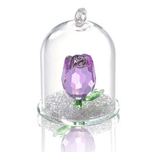 H&D Crystal Enchanted Rose Flower Figurine Dreams Ornament in a Glass Dome Gifts for her (Purple)(China)