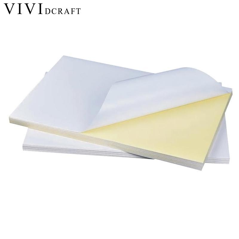 Vividcraft 50 Sheets Good Printing Quality Waterproof Self Adhesive A4 Blank White Paper Sticker Label Paper for Laser Printer