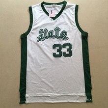 Gefex Hommes de Jersey Magic Johnson #33 lycée État blanc vert Basket-Ball  film
