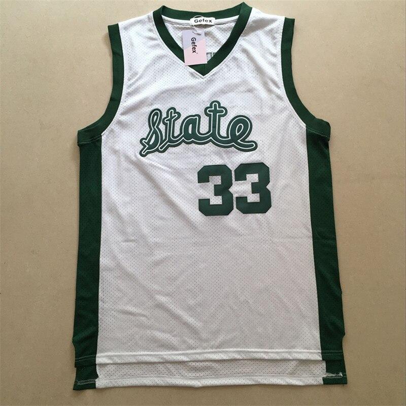 Gefex Men's Jersey Magic Johnson #33 high school State white green Basketball moive Jerseys free shipping size S-5XL