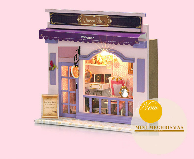 Kids Creative DIY Doll House Room Box Home Handmade Toy Purple Shop Model Kit Assemble Miniature Dollhouse Toys Girl Lovely Gift  (4)