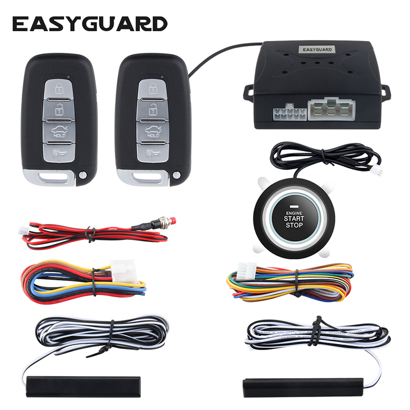 EASYGUARD smart key PKE passive keyless entry car alarm push button start remote engine start starter universal version dc12v car alarm system pke smart key touch password entry power saving remote engine start starter push start stop button dc12v