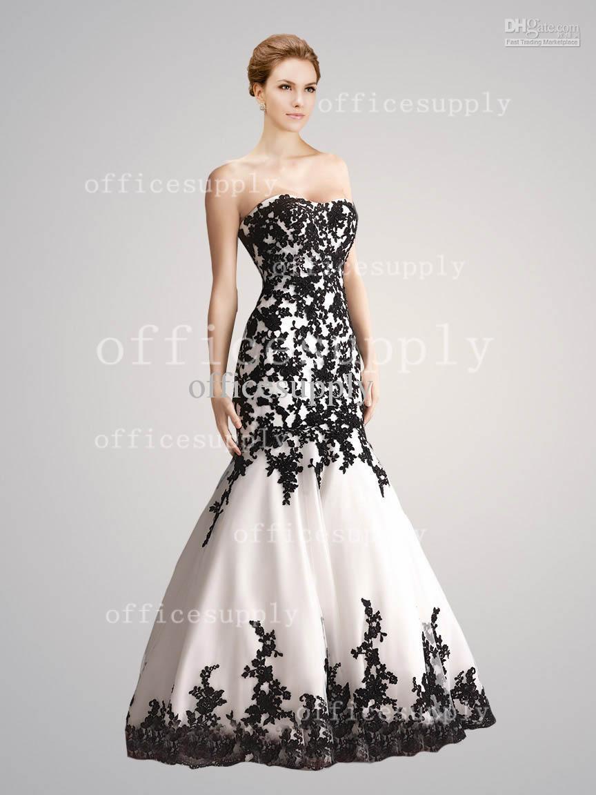 Black Appliques Long Mermaid Sweetheart Celebrity Dresses Off ...