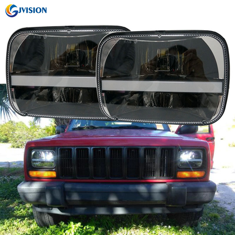 5x7'' Rectangular LED Headlight 6x7 inch square led truck headlamp DRL for Jeep Wrangler YJ Cherokee XJ Trucks 4x4 Offroad 1 pair 7 inch rectangular led headlight