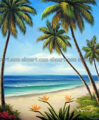 100 hand painted hawaii beach sand surf palm trees bird for Painting palm trees