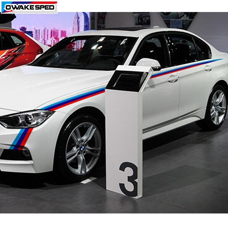 Tricolore taille lignes vinyle décalcomanie carrosserie avant pare-chocs autocollant pour BMW 3/5 série E90 F10 F20 F30 M3 M5 X1 accessoires extérieurs