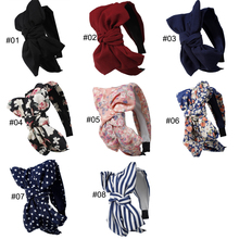 1PC Striped Hats Women Rabbit Ear Hair Accessories Lady Knotted Bow Headband flower Floral Patterns  Elastic Head Wrap hair hoop