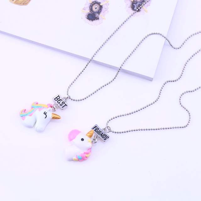 Skeins Best Friends Bff For 2 Animal Hose Unicorn Pendant Necklace Women Kids Girl Cartoon Resin Necklace Chain Friendship Set