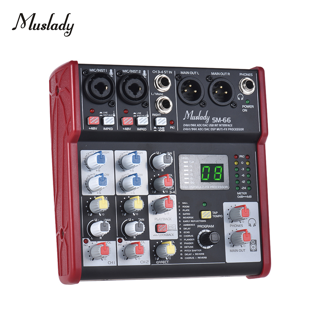 Muslady SM-66 Portable 4-Channel Sound Card Mixing Console Mixer Built-in 16 EffectsMuslady SM-66 Portable 4-Channel Sound Card Mixing Console Mixer Built-in 16 Effects