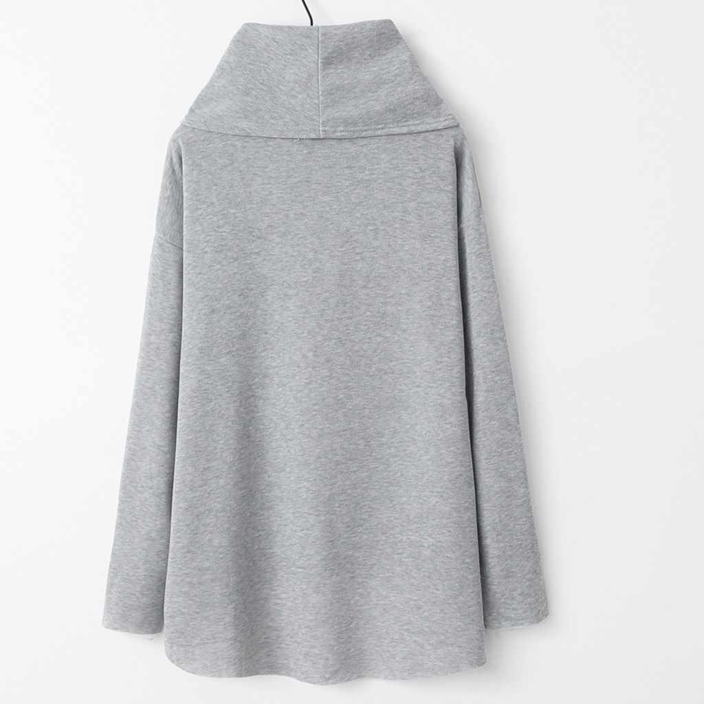 Muqgew Kpop Kemeja Wanita Rajutan Lengan Panjang Sweatshirt Syal Kerah Pullover Streetwear Atasan Moletom Feminino Inverno Толстовка
