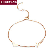 ZHOUYANG Top Quality Lady Style Heart Love Rose Gold Color Fashion Bracelet ZYH223(China)