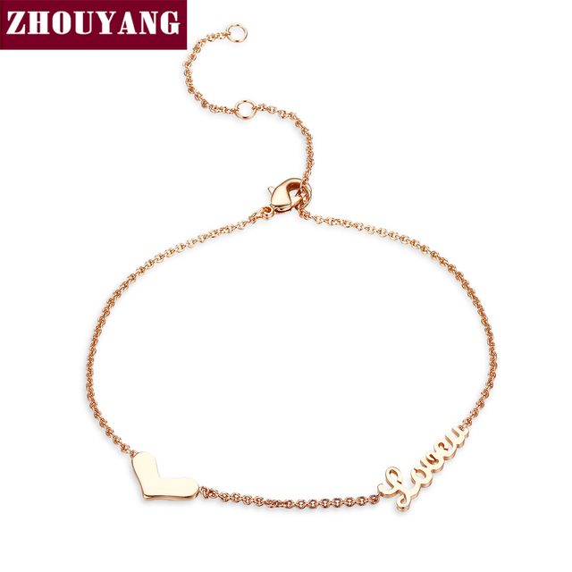 ZHOUYANG Top Quality Lady Style Heart Love Rose Gold Color Fashion Bracelet ZYH223