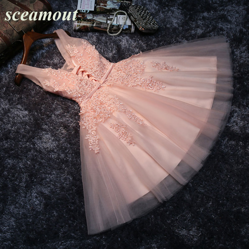 Dusty Pink Lace Tulle Short Prom Cocktail Dresses Knee Length Sleeveless Beaded Appliques Cocktail Dresses Robe