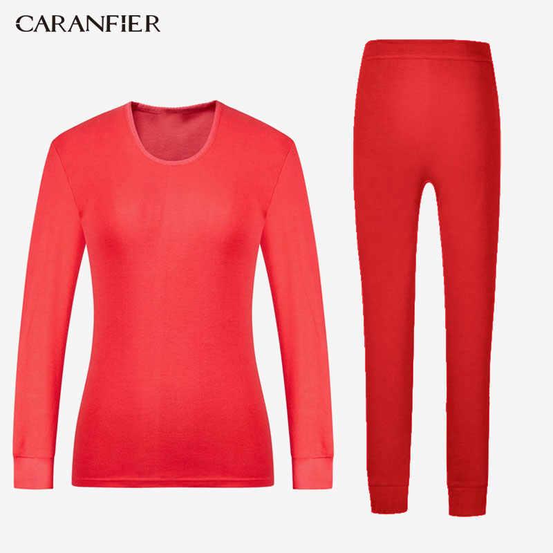 CARANFIER лайкра хлопок кальсоны для мужчин или женщин круглый вырез термобелье дышащая зимняя одежда мужские бесшовные теплые L-XXXL