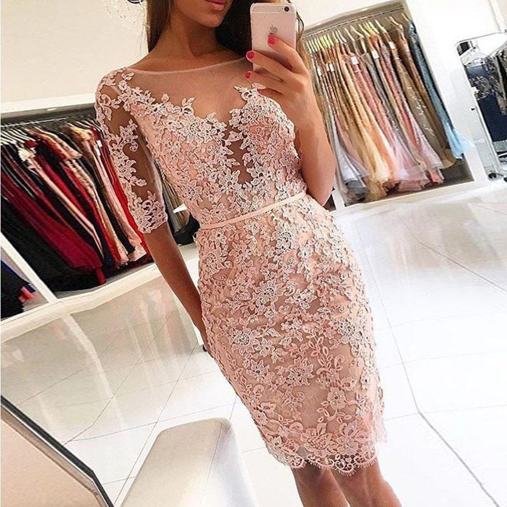 Peach Lace   Cocktail     Dresses   2019 Short Prom   Dress   Cheap Beaded Half Sleeves Knee Length Homecoming Party Gowns