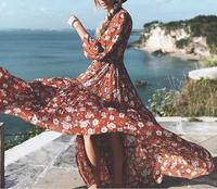 2017ss Fashion Bohemian Resort Floral Print Maxi Dress Long sleeved V neck with buttons drawstring waist Side Slits Ankle Dress