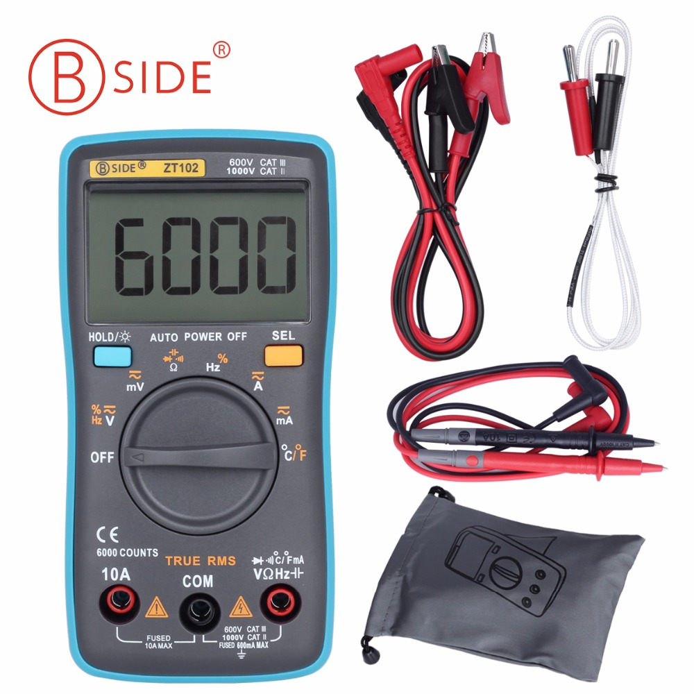BSIDE ZT102 Ture RMS Digital Multimeter AC/DC Voltage Current Temperature Ohm Frequency Diode Resistance Capacitance Tester auto range handheld 3 3 4 digital multimeter mastech ms8239c ac dc voltage current capacitance frequency temperature tester