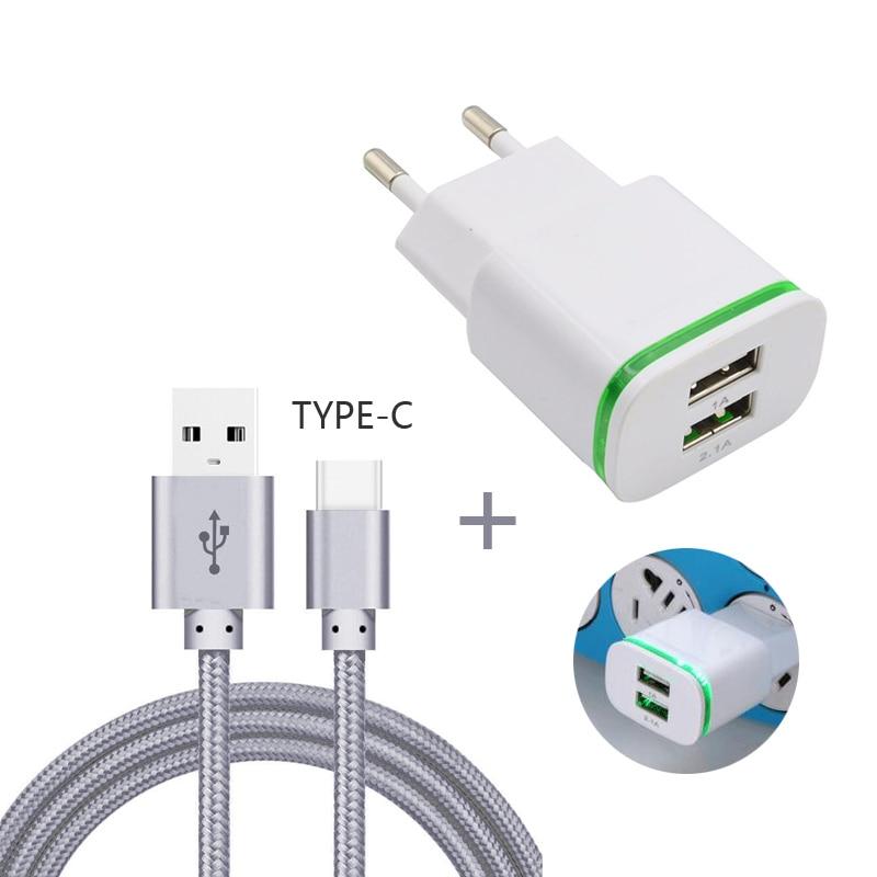 GEUMXL Dual USB EU Plug Travel Charger 3F Type C USB Cable for - Ανταλλακτικά και αξεσουάρ κινητών τηλεφώνων - Φωτογραφία 1