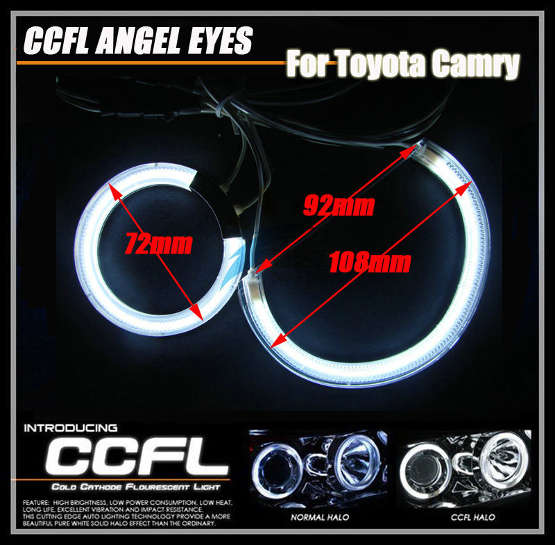 7000k Ultra Bright CCFL Angel Eyes Halo Ring Kit Auto CCFL Lights Halo Rings for Toyota Camry 03-06 White Blue Red Green for uaz patriot ccfl angel eyes rings kit non projector halo rings car eyes free shipping