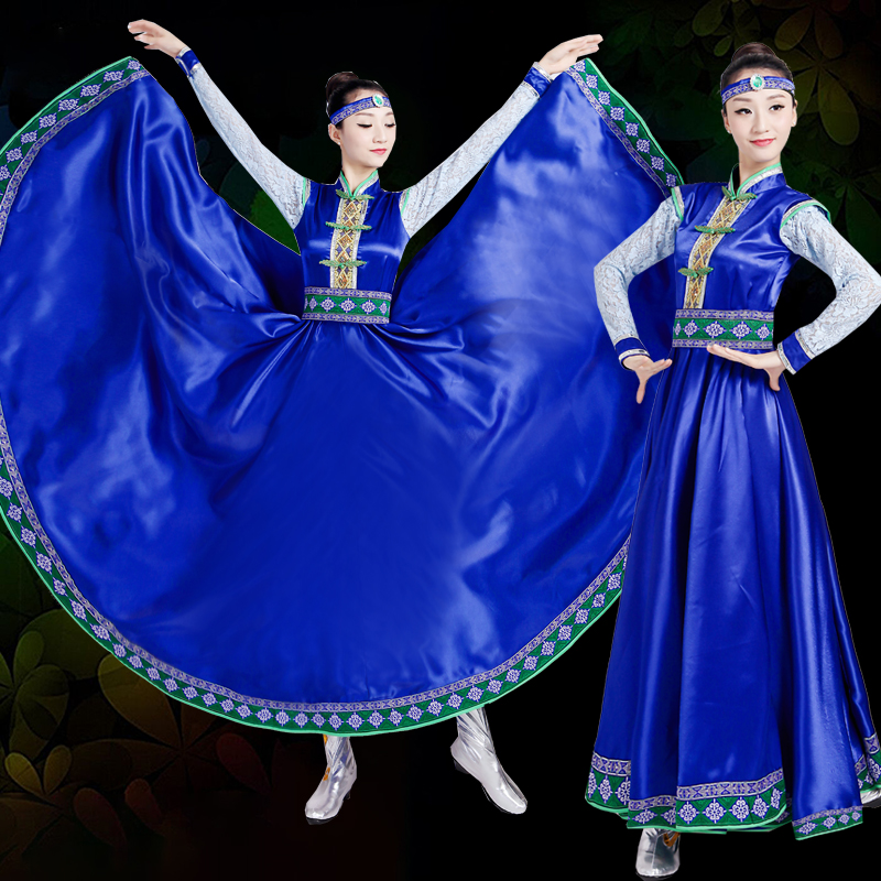 New Mongolian women dance costumes, Mongolia robes, China ethnic minority costumes blue swing skirt stage dancing dress