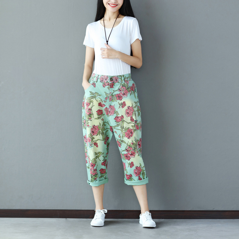 Vintage pastoral denim women jeans personality printed trousers casual washed elastic waist hole loose plus size harem pants