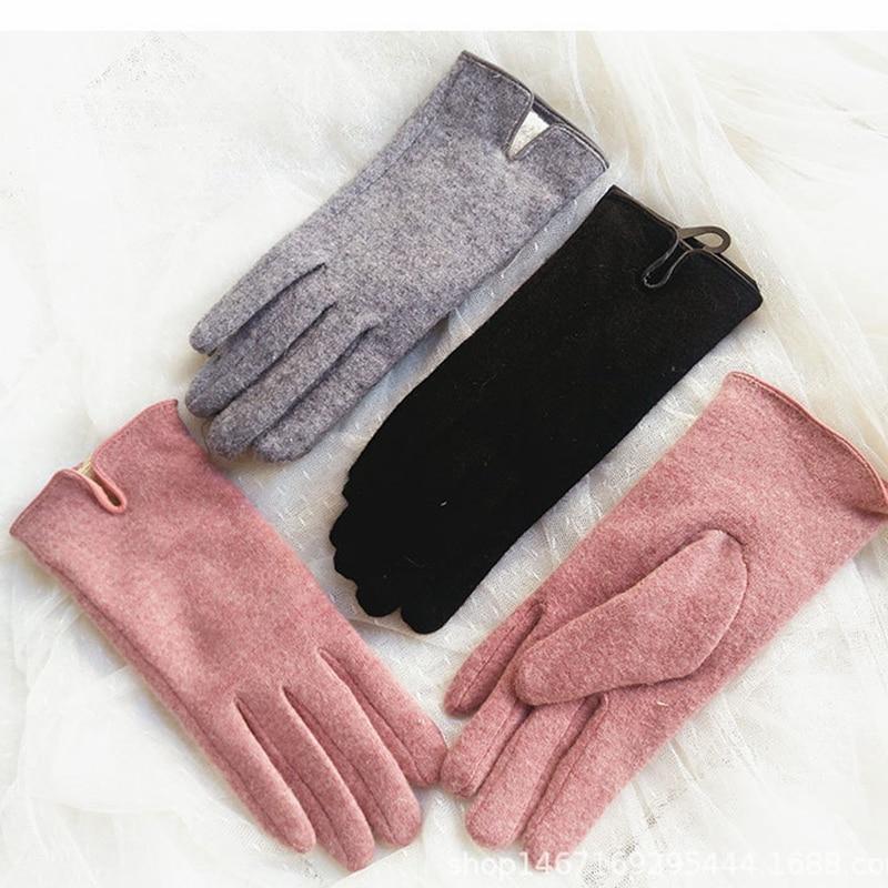 2018 luvas de tela sensível ao toque de caxemira feminino inverno duplo pensador quente feminino cinco dedos luvas