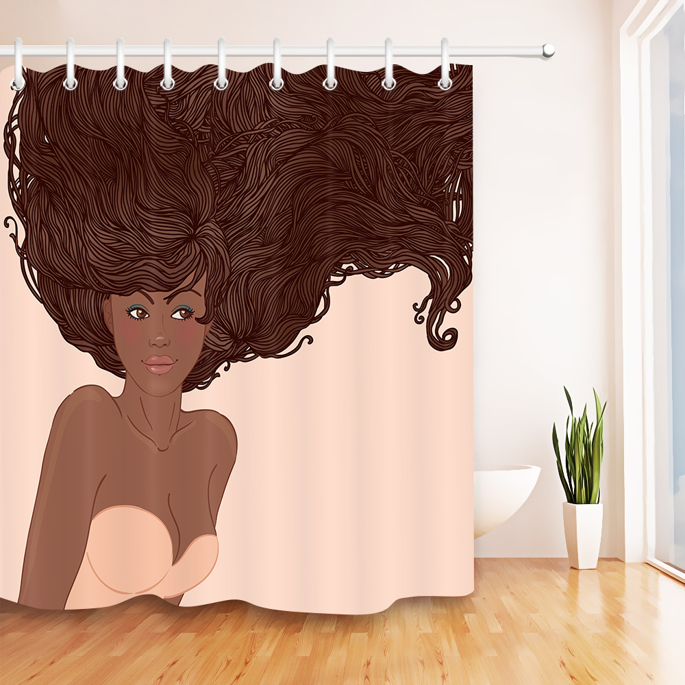 72 Beauty Salon African American Woman Bathroom Fabric Shower Curtain Waterproof Polyester Sets 12 Hooks In Curtains From Home Garden