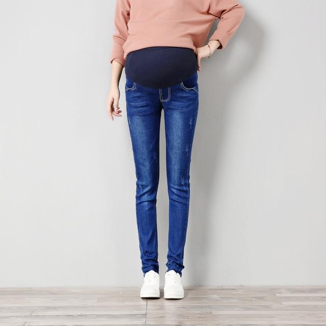 cbf7318d31 Plus Size Elastic Waist Cotton Maternity Jeans Pants For Pregnancy Clothes  For Pregnant Women Legging Autumn Winter
