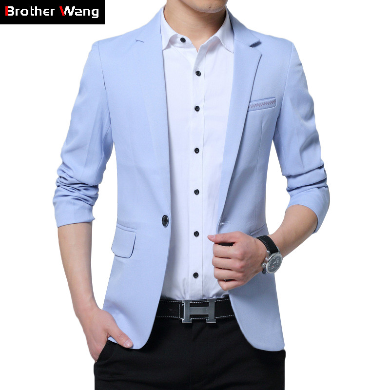2020 Autumn New Men's Solid Color Casual Suit Business Casual Slim Fit SkyBlue Blazer Jacket Male Brand Clothing