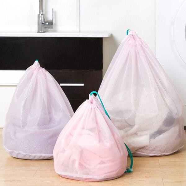 3 Pcs/lot Clothes Washing Machine Laundry Bra Aid Lingerie Mesh Net Wash Bag drawstring bag Pouch Basket femme 3 Sizes