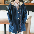 2017 Spring New Women Jacket Japanese style Mori Girl Cat Embroidery Solid Casual Loose Long Sleeve Hooded Outerwear Female Coat