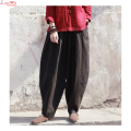 Women Vintage Natural Linen Fabrics Long Lantern Trousers Original Soft Casual Harem Pants Slacks